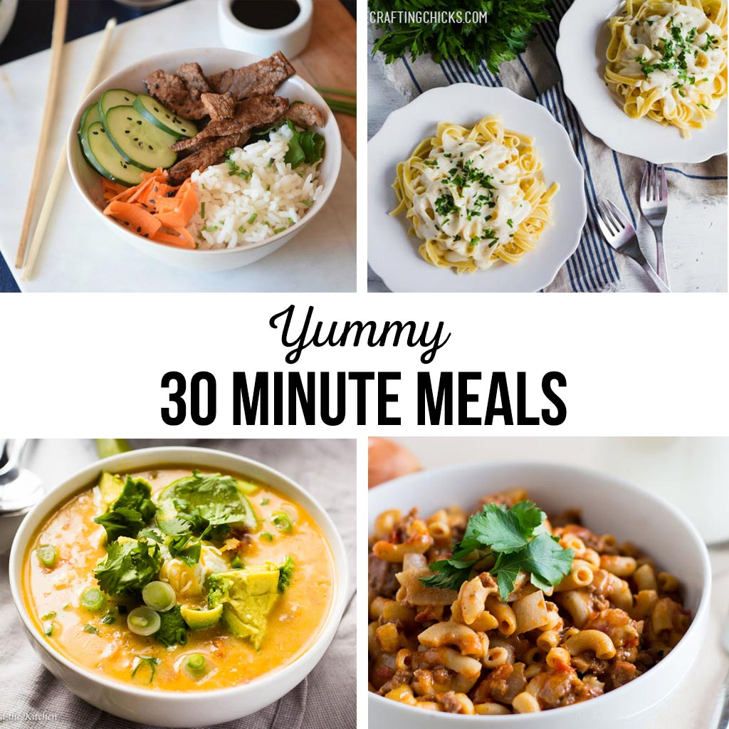 30 Minute Meals | Quick and easy recipes for your busy schedule. Great for after work or in between soccer games. Meals the whole family will love! #30minutemeals