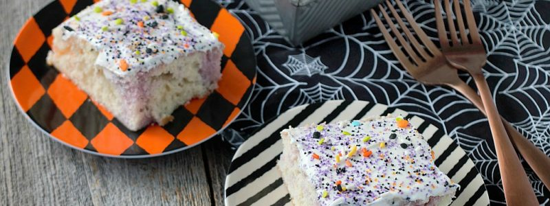 This Easy Fruity Halloween Poke Cake is a delicious dessert for any Halloween party or get together!