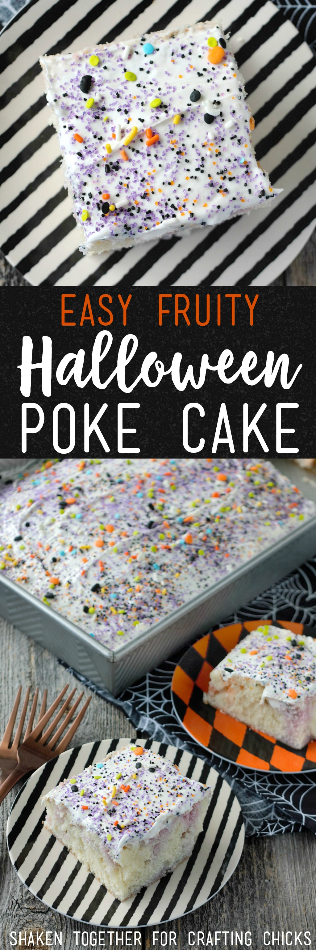 With fruity swirls of purple and orange in a soft white cake, this Easy Fruity Halloween Poke Cake is a spooky sweet treat!