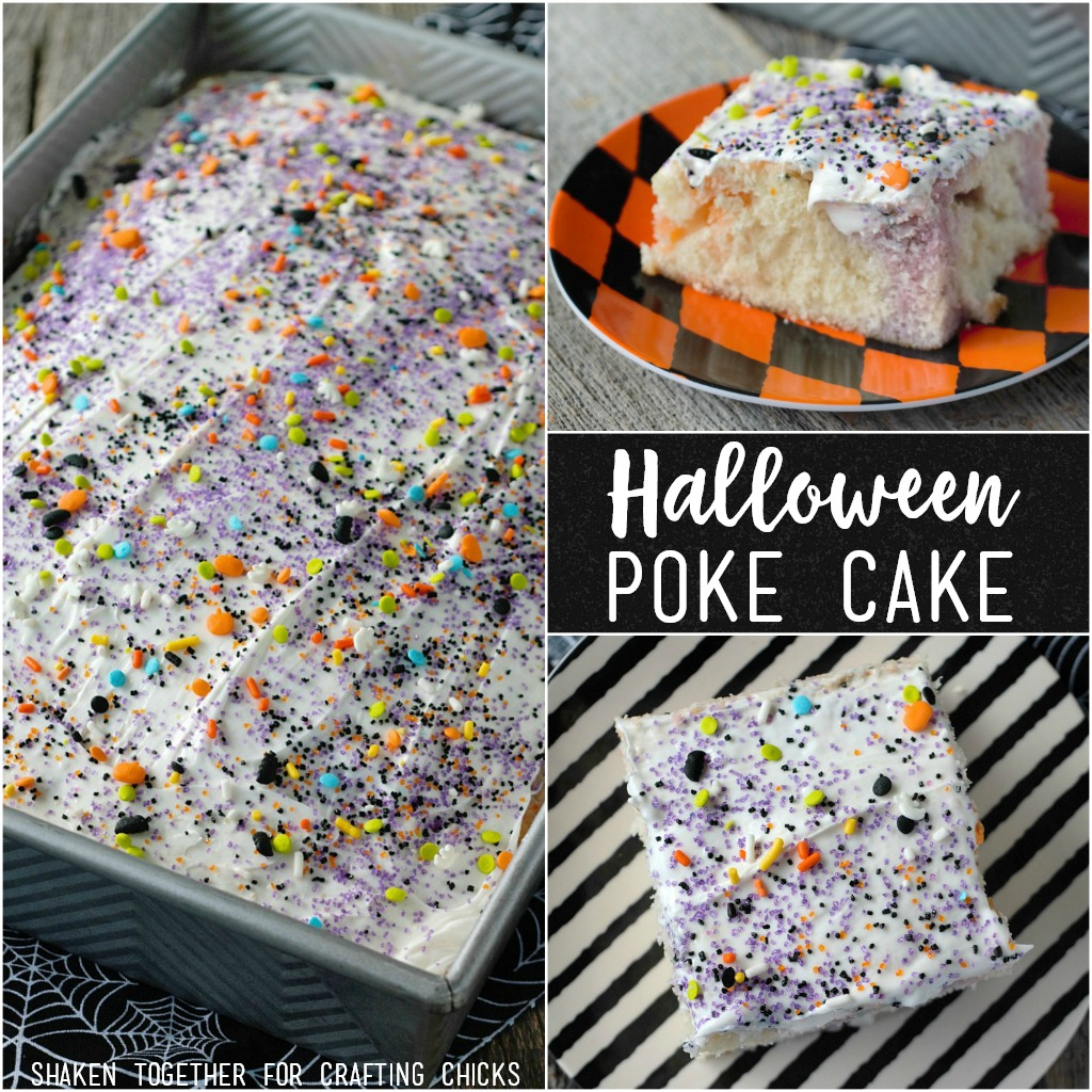 This easy Fruity Halloween Poke Cake is a crowd pleaser and SO simple to make!