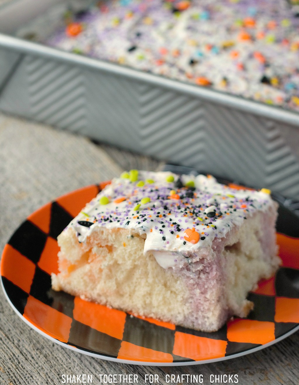 Easy Fruity Halloween Poke Cake is a simple, spooky dessert for any Halloween party!