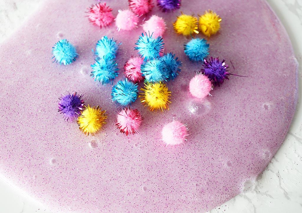Glitter Pom Pom Slime