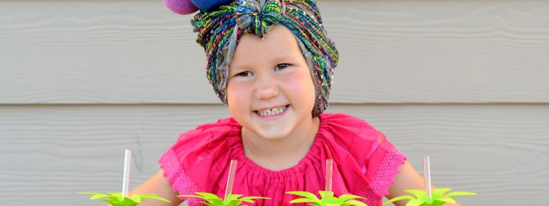 A simple, pineapple princess light-up halloween costume that will help you see your little trick-or-treater on Halloween night.