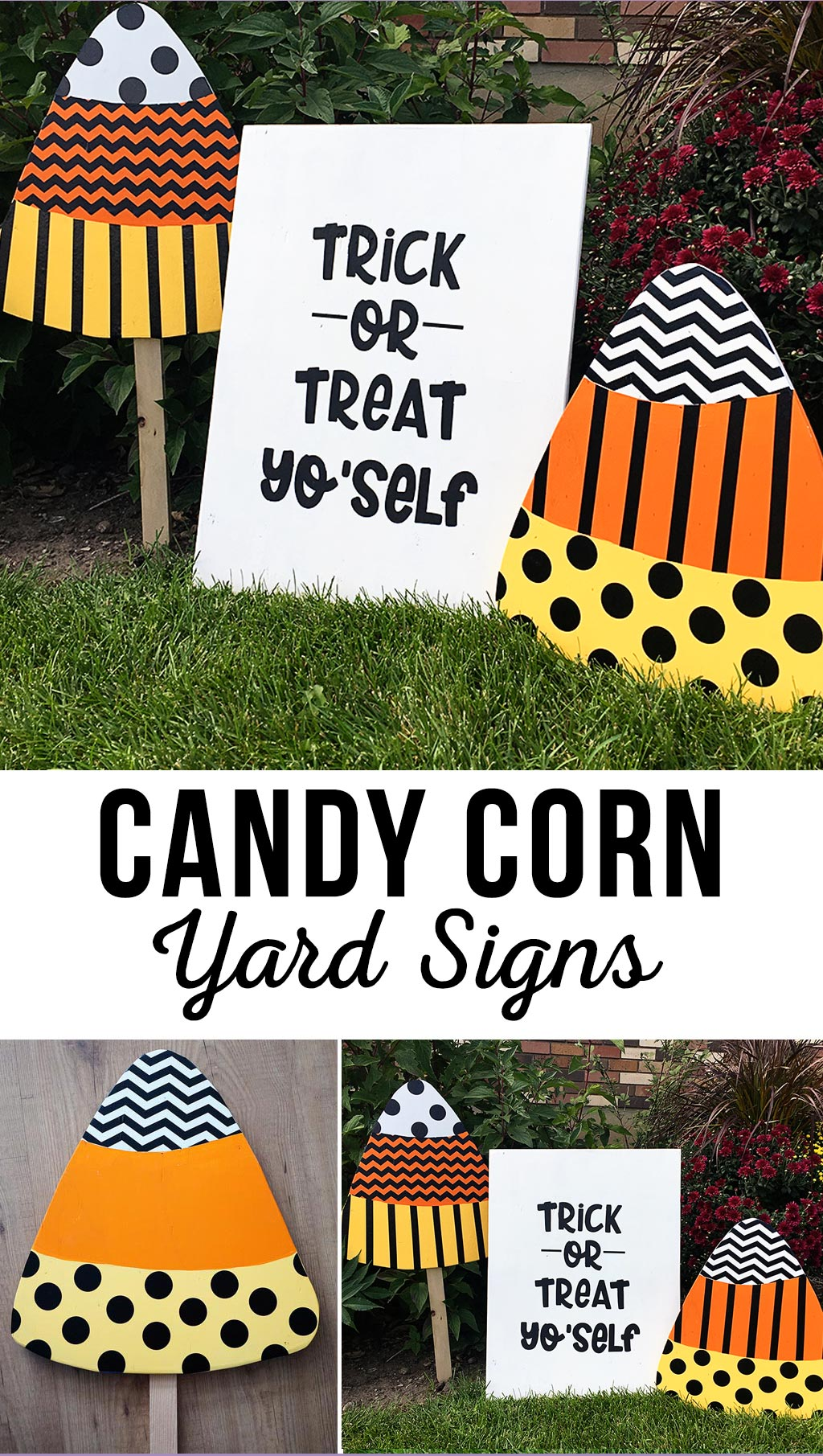 Trick Or Treat Yo'self Candy Corn Signs