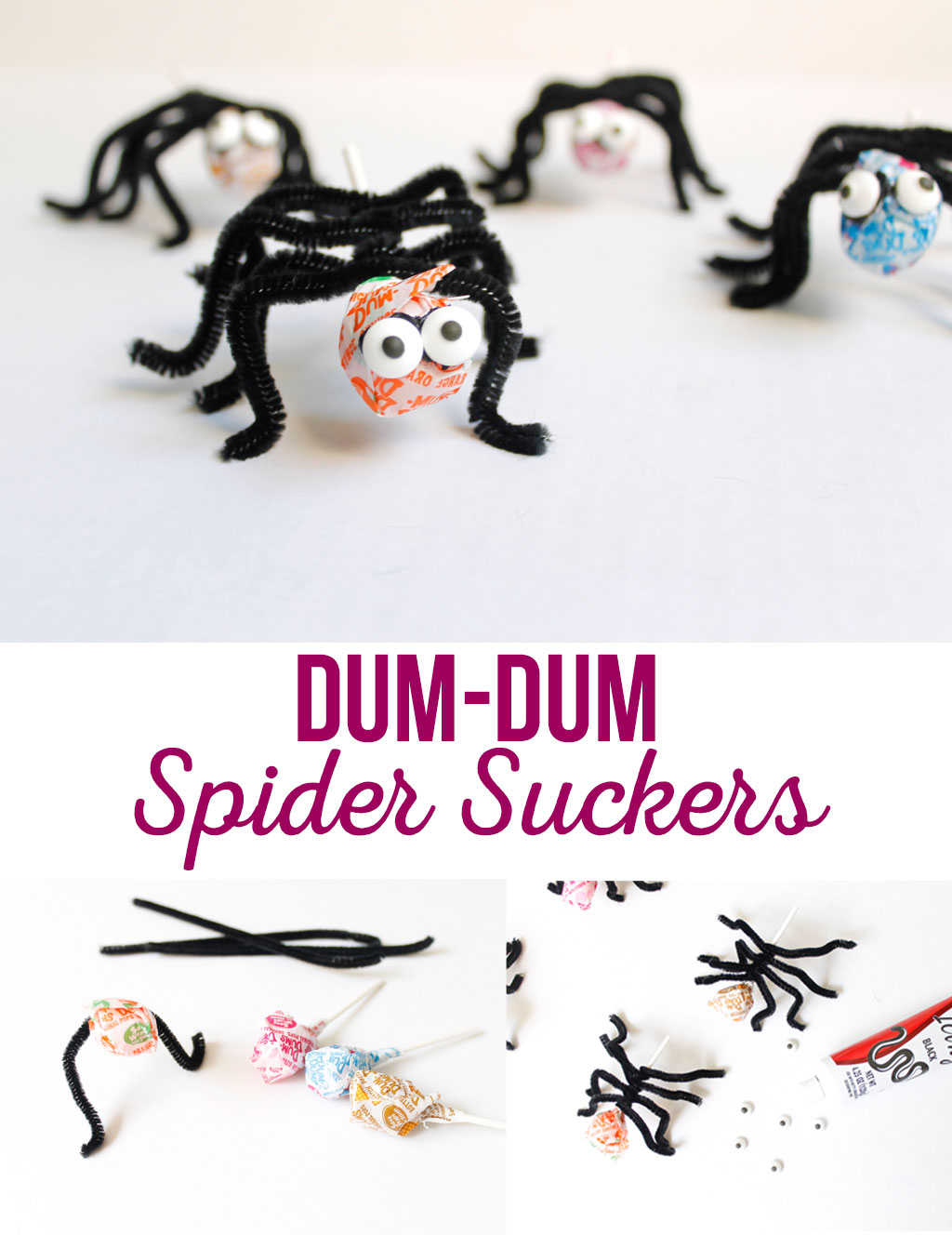 Dum-Dum Spider Suckers are a quick and easy treat for any Halloween party. A fun way clever way to be creative without spending tons of money.