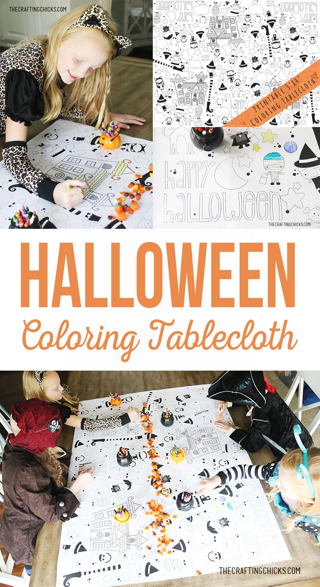 Halloween Printable Coloring Tablecloth | Fun activity for class parties, preschool activities or play dates