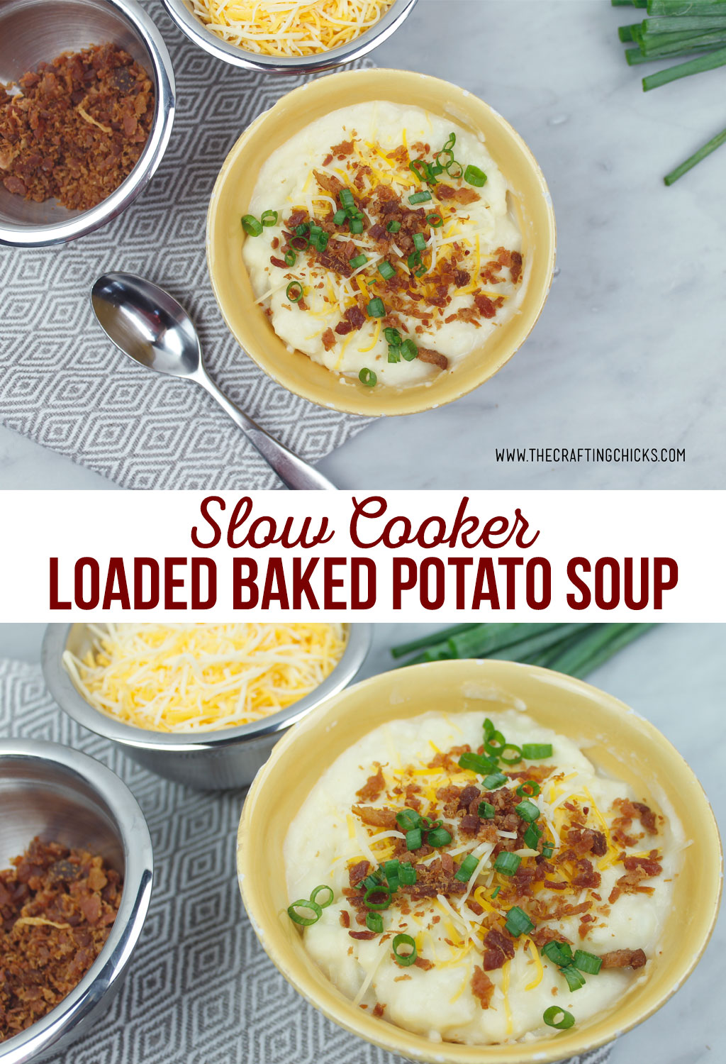 Slow Cooker Baked Potato soup is perfect for those days where you want to toss some thing in the crockpot and not worry about it later.