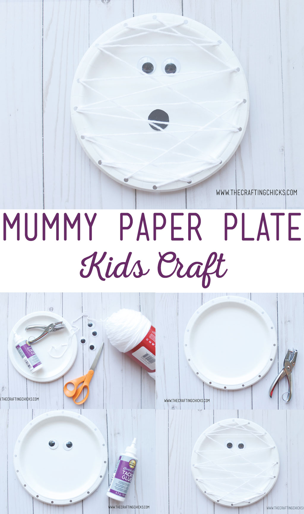 Mummy Paper Plate Kids Craft is a great way for kids to learn how to weave with yarn. This easy craft is great for children of all ages, starting in preschool. #kidscrafts #kidspaperplatecraft #halloweenkidscraft