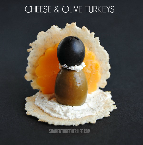 Cheese & Olive Turkeys - super cute Thanksgiving appetizers from Shaken Together!