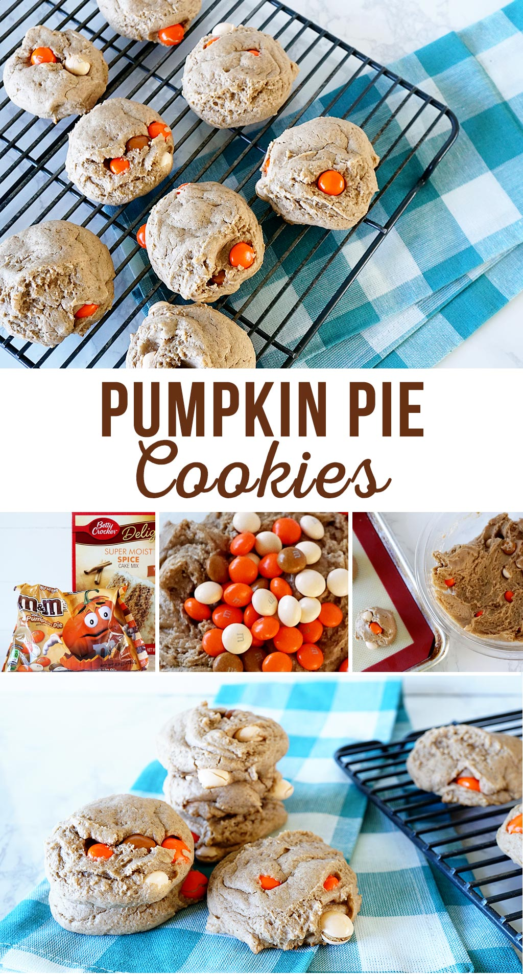 Pumpkin Pie Cake Mix Cookies with M&Ms