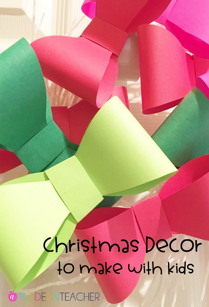 Easy Christmas decor you can make with any kid! This simple project is an way to add some festive fun to your home for the holidays. #kidscrafts #diychristmasdecor #christmascrafts