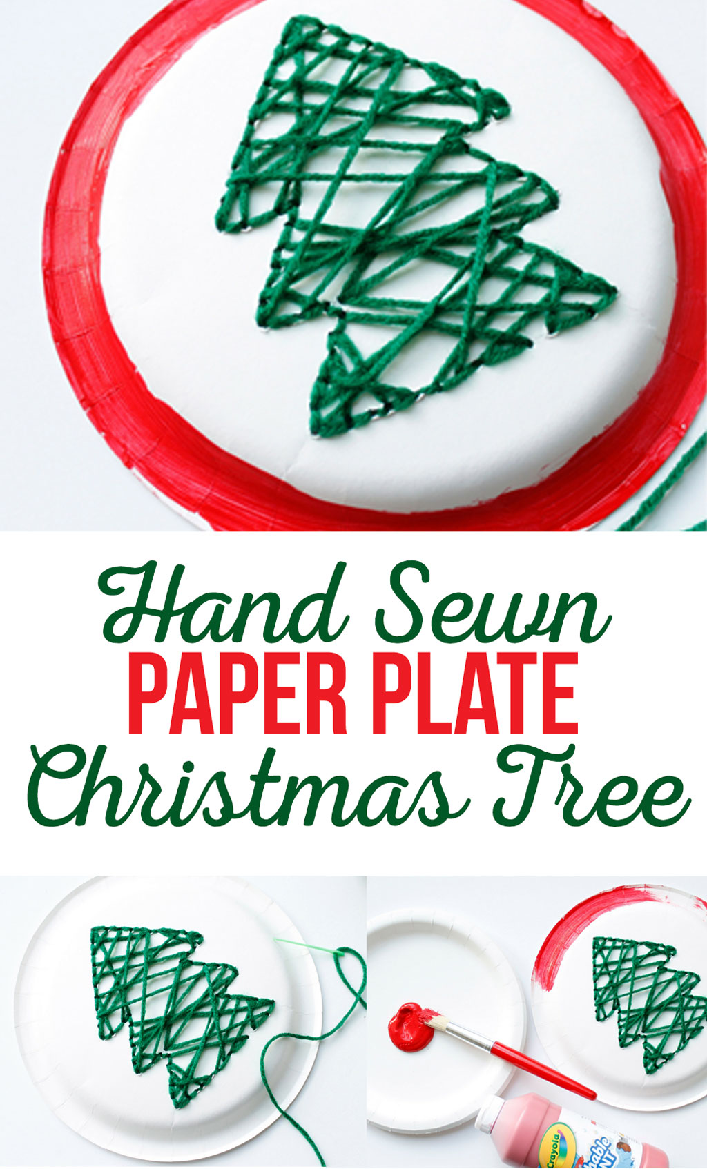 Hand-Sewn Paper Plate Christmas Tree Craft for kids.