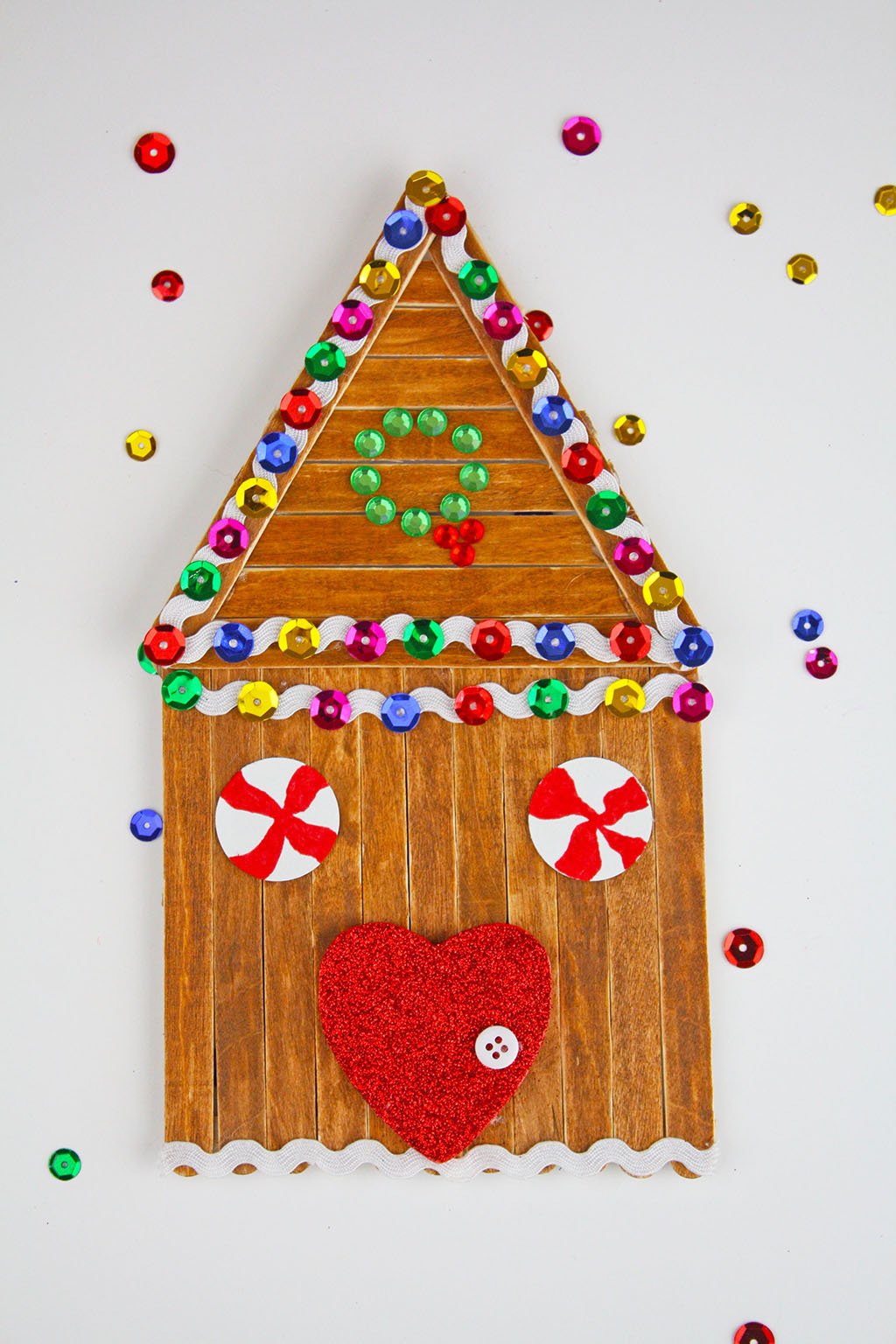 Popsicle Stick Gingerbread House Craft