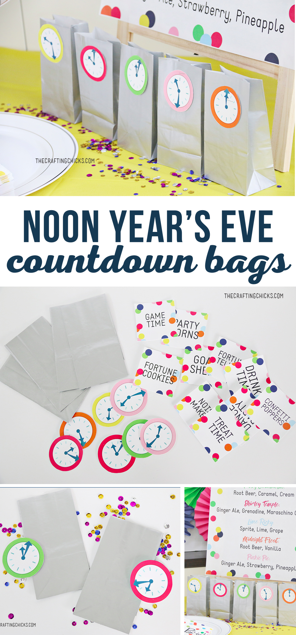 New Year's Eve Kids' Countdown Bags are a great way to keep kids busy while waiting for the new year. We used these with our Noon Year's Eve Kids Party and they were a hit.