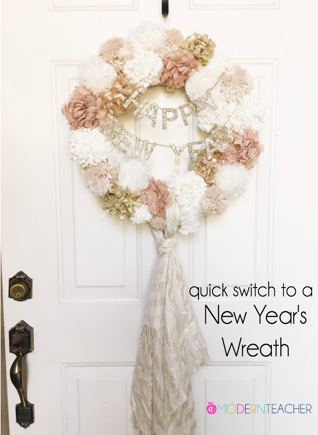 New Year's Eve Wreath idea   A quick idea on changing your Christmas wreath to a New Year's wreath