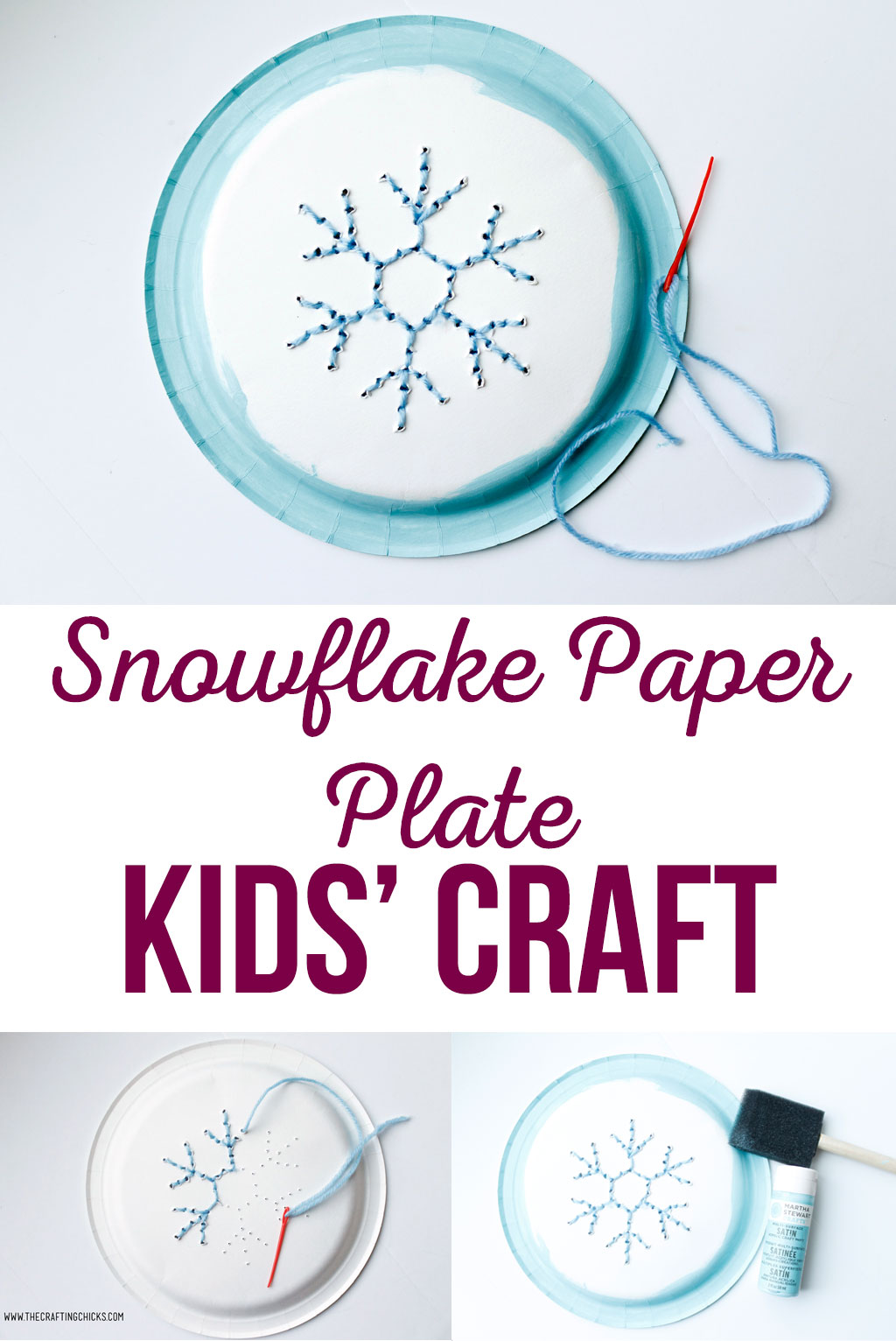 Snowflake Paper Plate Kids Craft is a great craft idea for winter break. Snowflake Paper Plate Kids' Craft is a fun project for kids to work on. They will love using fine motor skills to create a snowflake with yarn.
