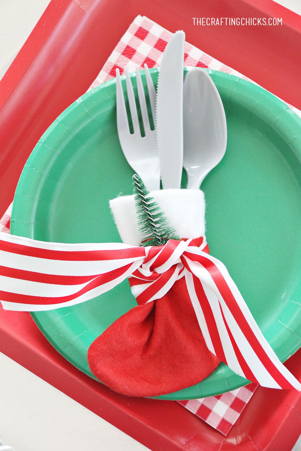 Stocking Utensil Holder Place Settings for Christmas Morning Breakfast