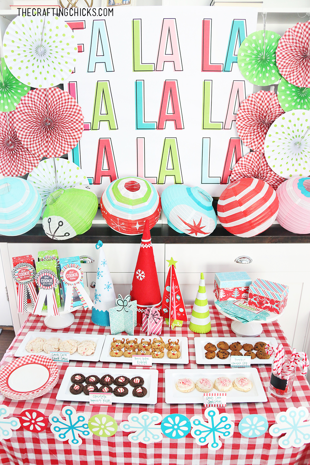 Our Cookie Exchange Party Backdrop is the perfect addition to any holiday party, but goes beautifully with the Tween Cookie Exchange we threw.
