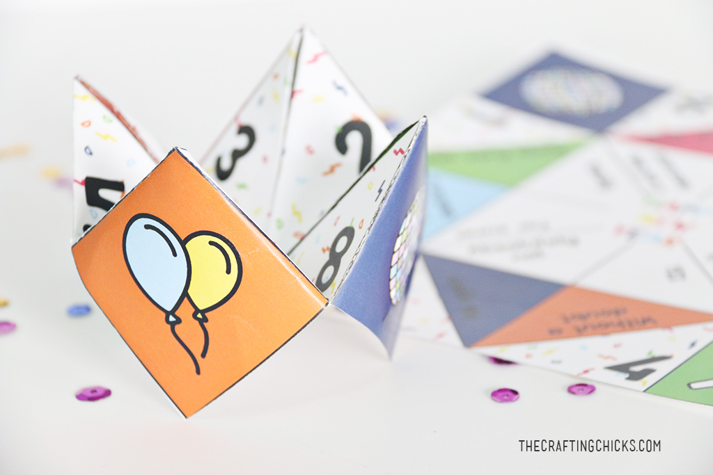 These New Years Fortune Teller Printables are a fun activity for kids to do while they are waiting for the ball to drop. We used these printables in our New Year's Eve Kids' Countdown bags as an activity and they were a hit!