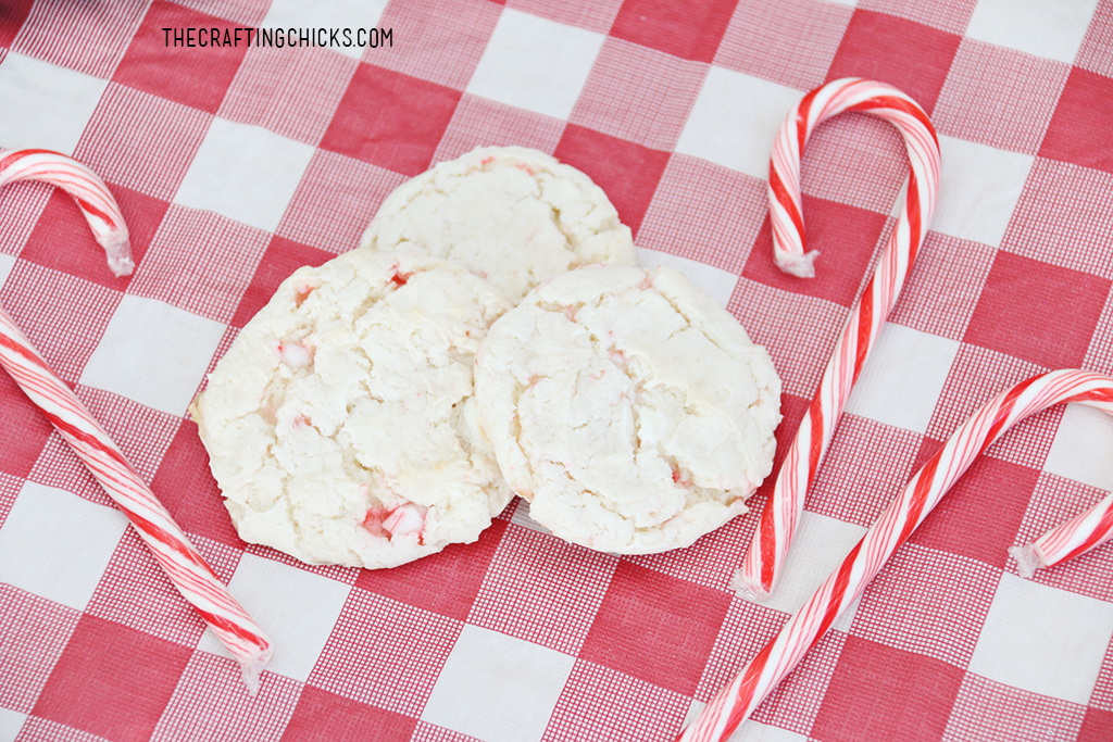 Peppermint Cake Mix Cookies are so easy but pack a yummy punch. With crushed candy canes, and white chocolate chips, these cookies are sure to be a house hold favorite.