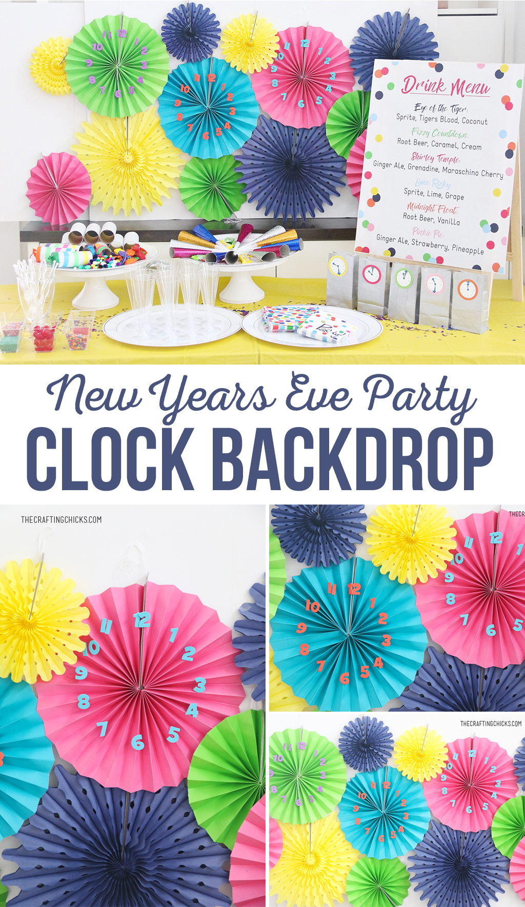 DIY New Year's Eve Party Clock Backdrop