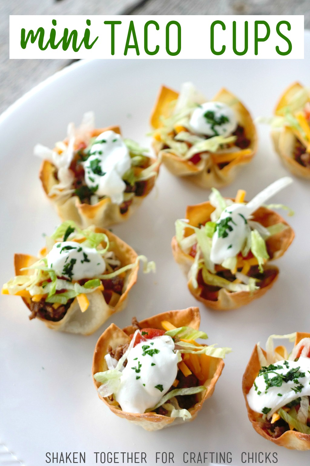 Mini Taco Cups are such an easy appetizer! Fill crispy wonton cups with meat, cheese and all of your favorite taco toppings! Great for New Years Eve or the big game!