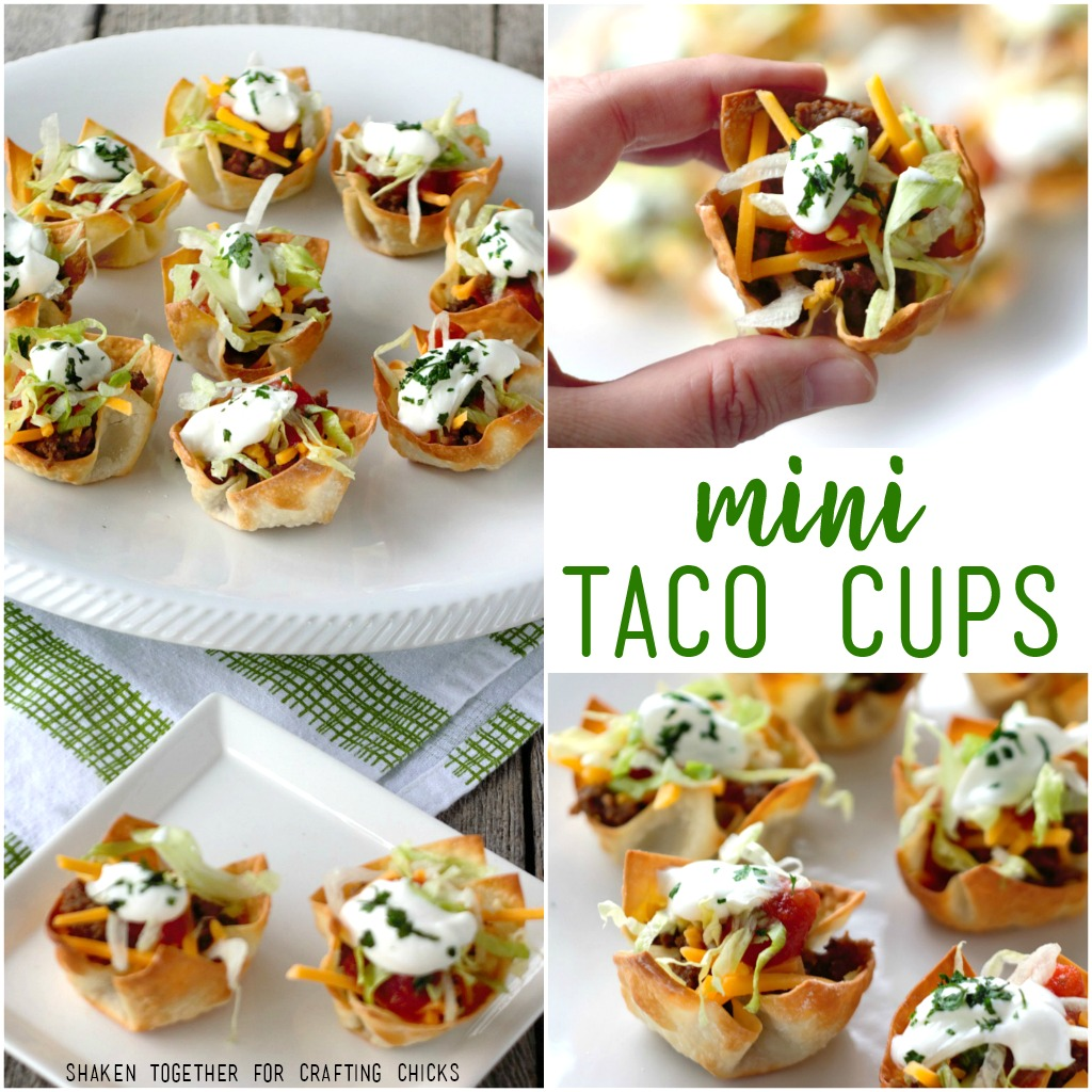 These Mini Taco Cups are the perfect easy appetizer for your new party, New Years Eve or big game!