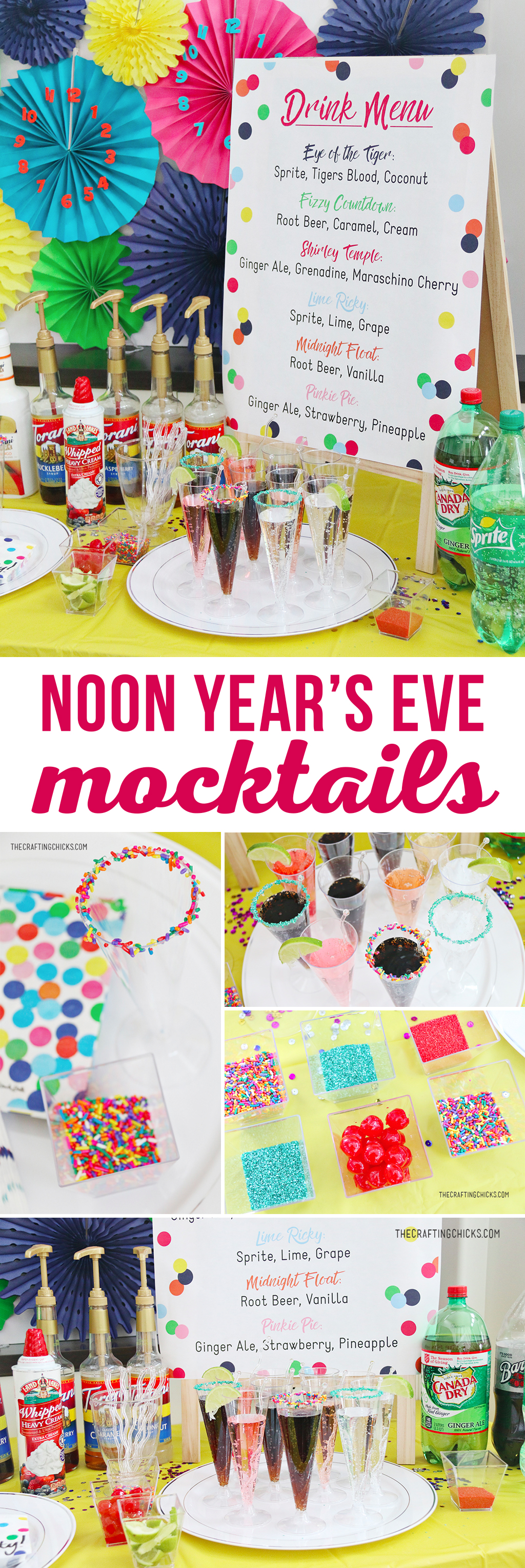 Mocktails for Kids Noon Year's Eve Party | Mocktails for Kids' is a great way to ring in the New Year or any party. We added this fun Printable Kids' Mocktail Menu to our Noon Year's Eve Party that we threw our kids and it was a hit.