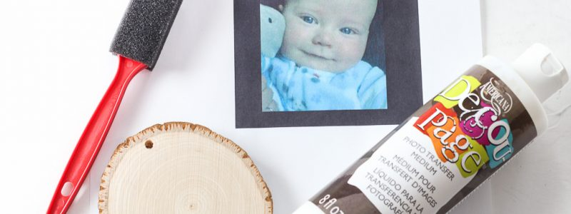 Vintage-Inspired Photo Transfer Wood Slice Ornament
