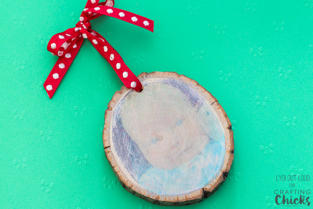 Photo transfer wood slice ornament