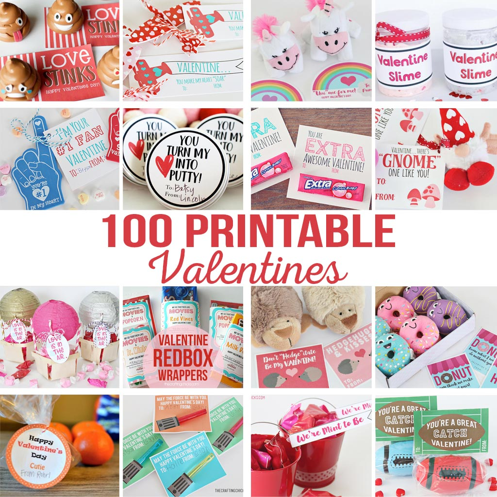 DIY Printable Valentines | Printables Valentines for school, teachers, friends, family, kids, and spouses. So many Valentine printables in one place!