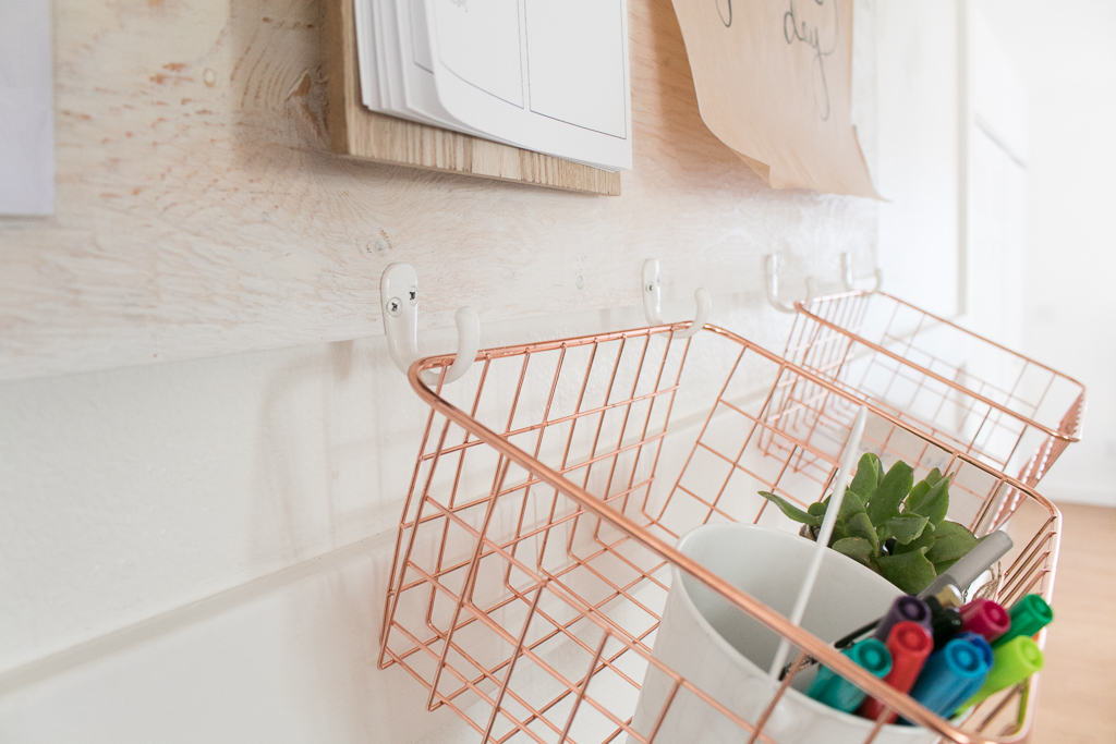 Rose Gold Baskets for family command center
