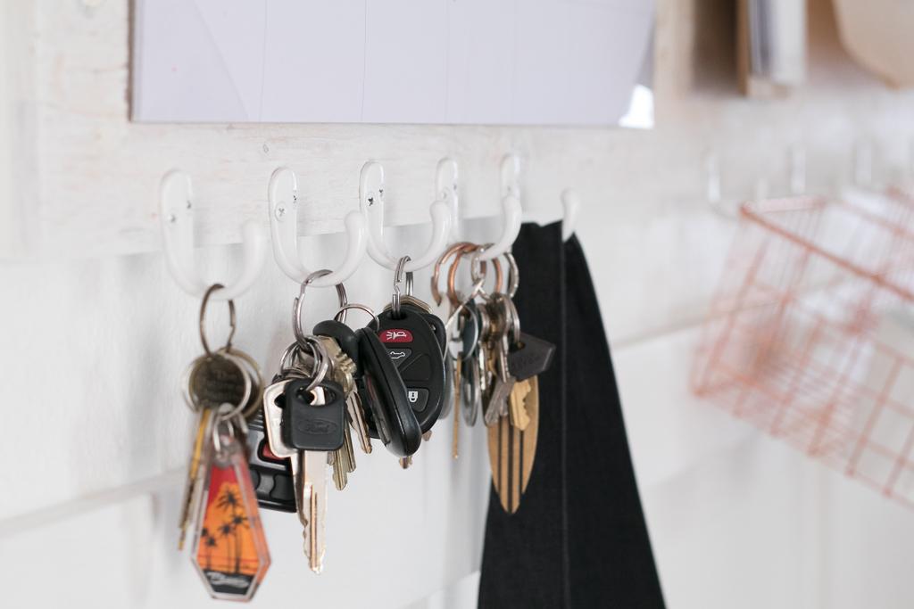 Family Command Center hooks for keys and bags