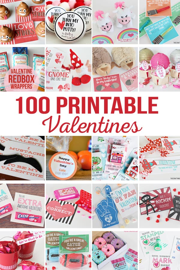DIY Printable Valentines | Printables Valentines for school, teachers, friends, family, kids, and spouses.  Non candy printable Valentines.