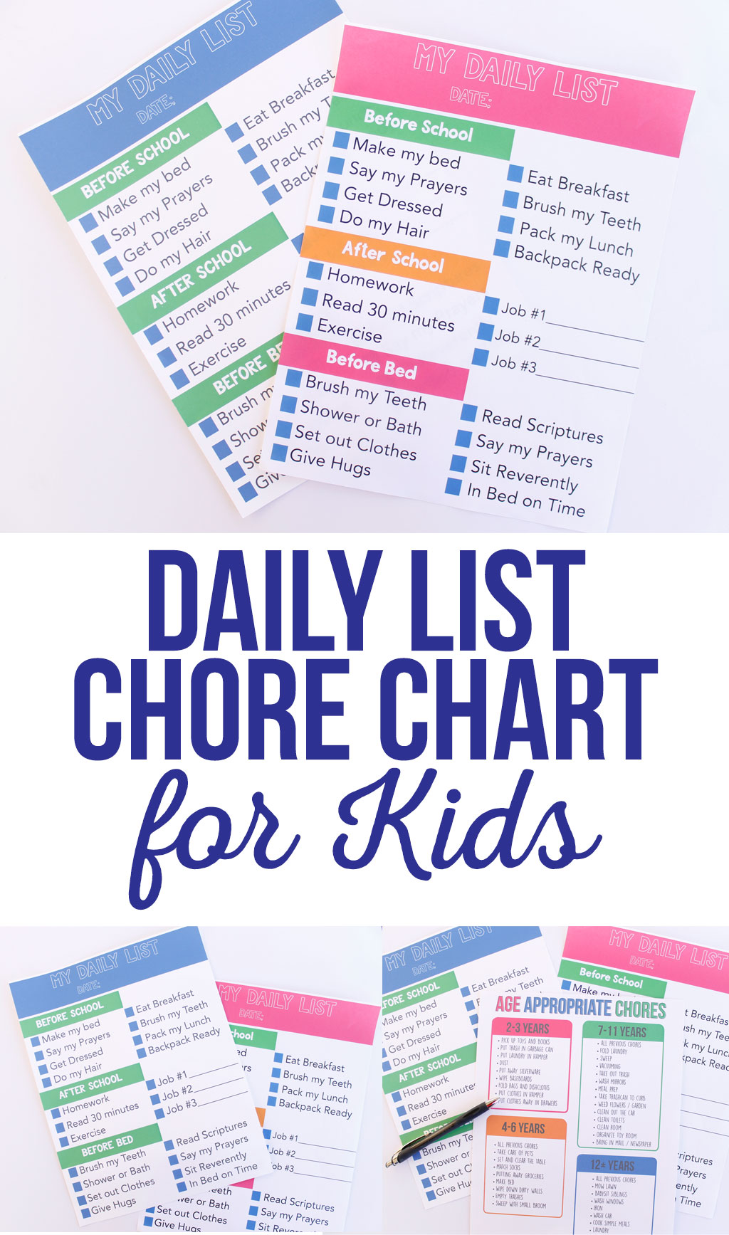 The perfect chore chart for older kids.  Daily List Chore Chart for Kids keeps them on task and gives them motivation get everything done.