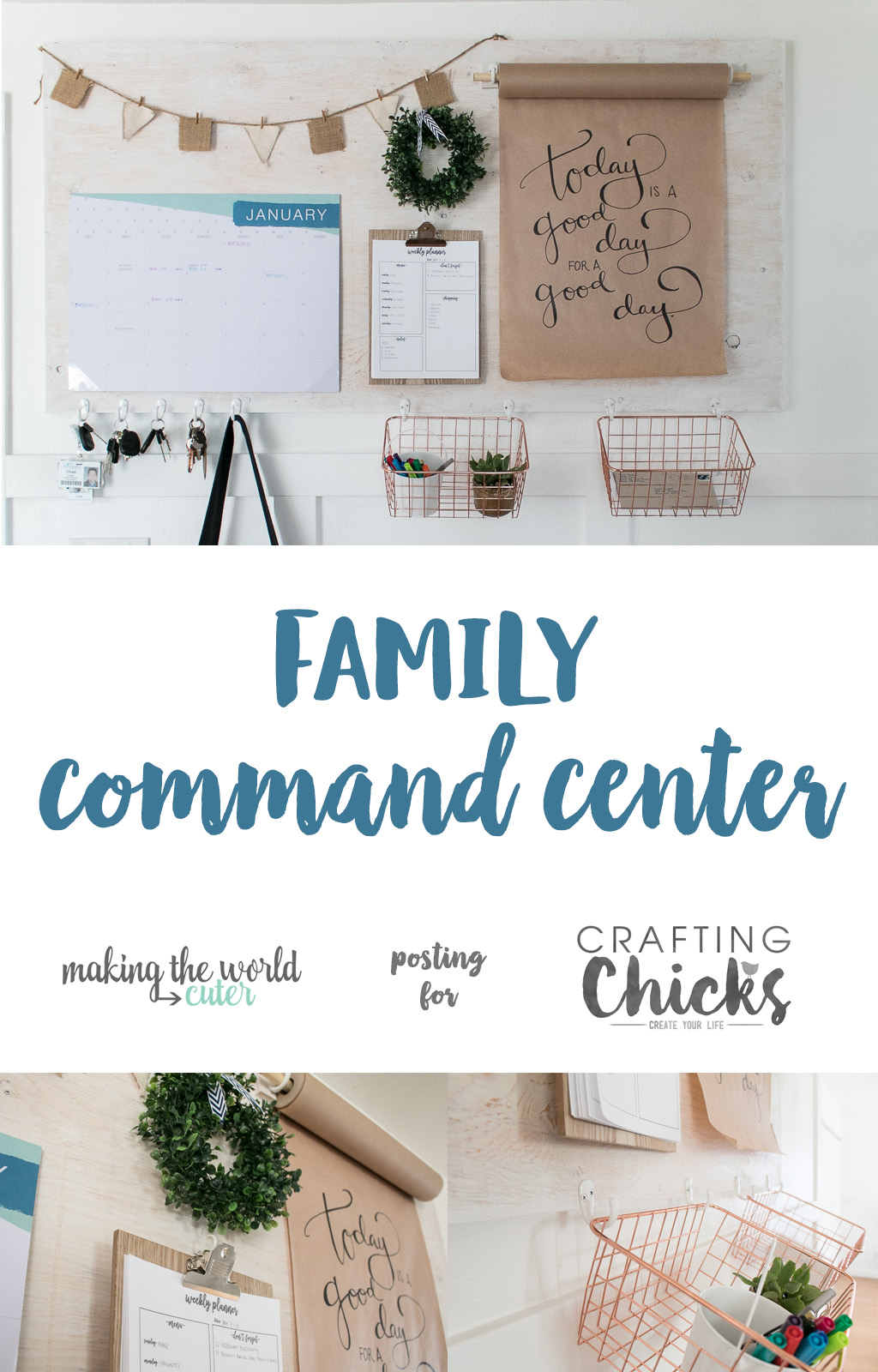 DIY Farmhouse Style Family Command Center with mounted kraft paper roll dispenser. Keep your family organized and all on the same page.