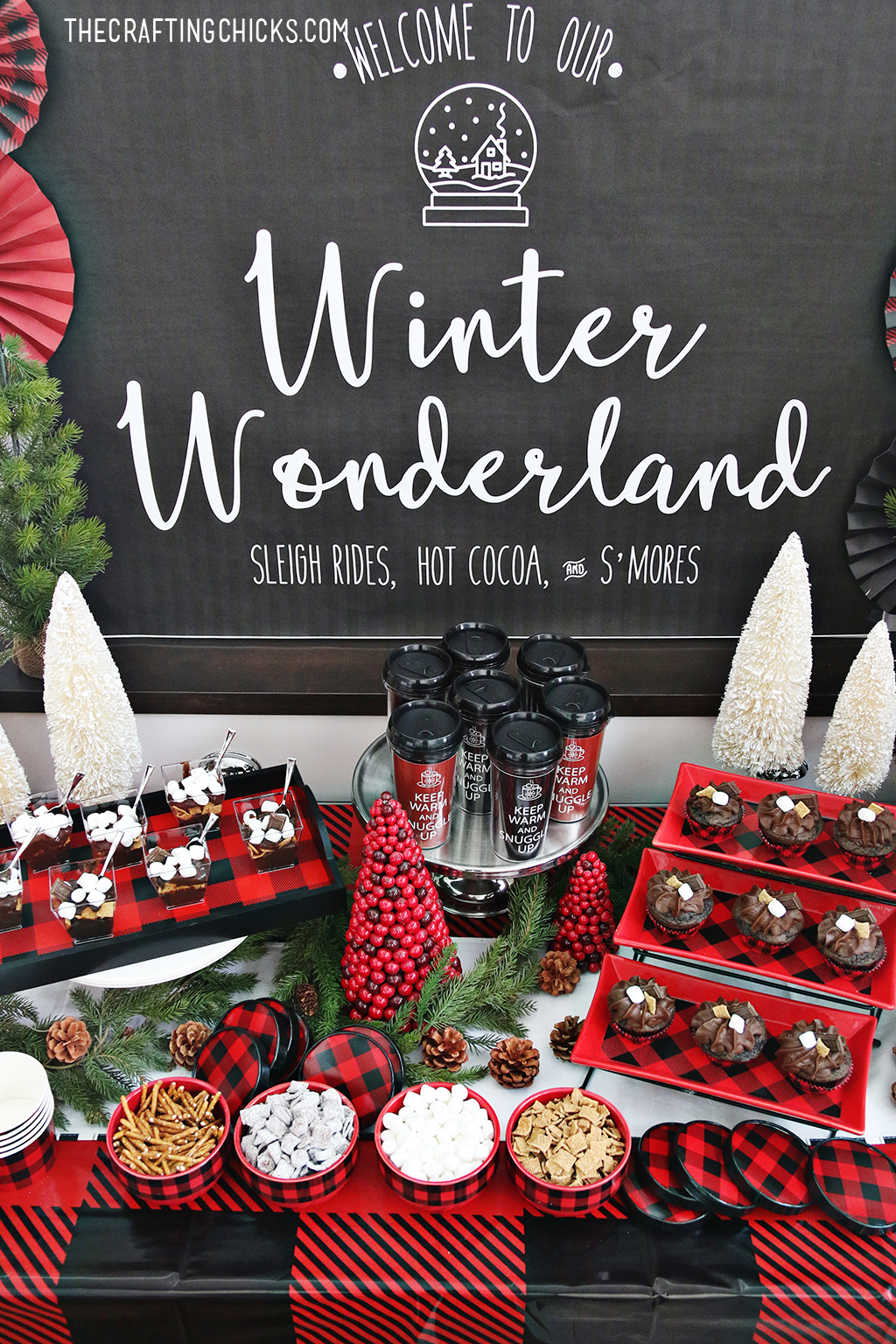 Add this Winter Wonderland Backdrop Printable to any winter party you throw. This large format printable is beautiful and will make the party table stand out.