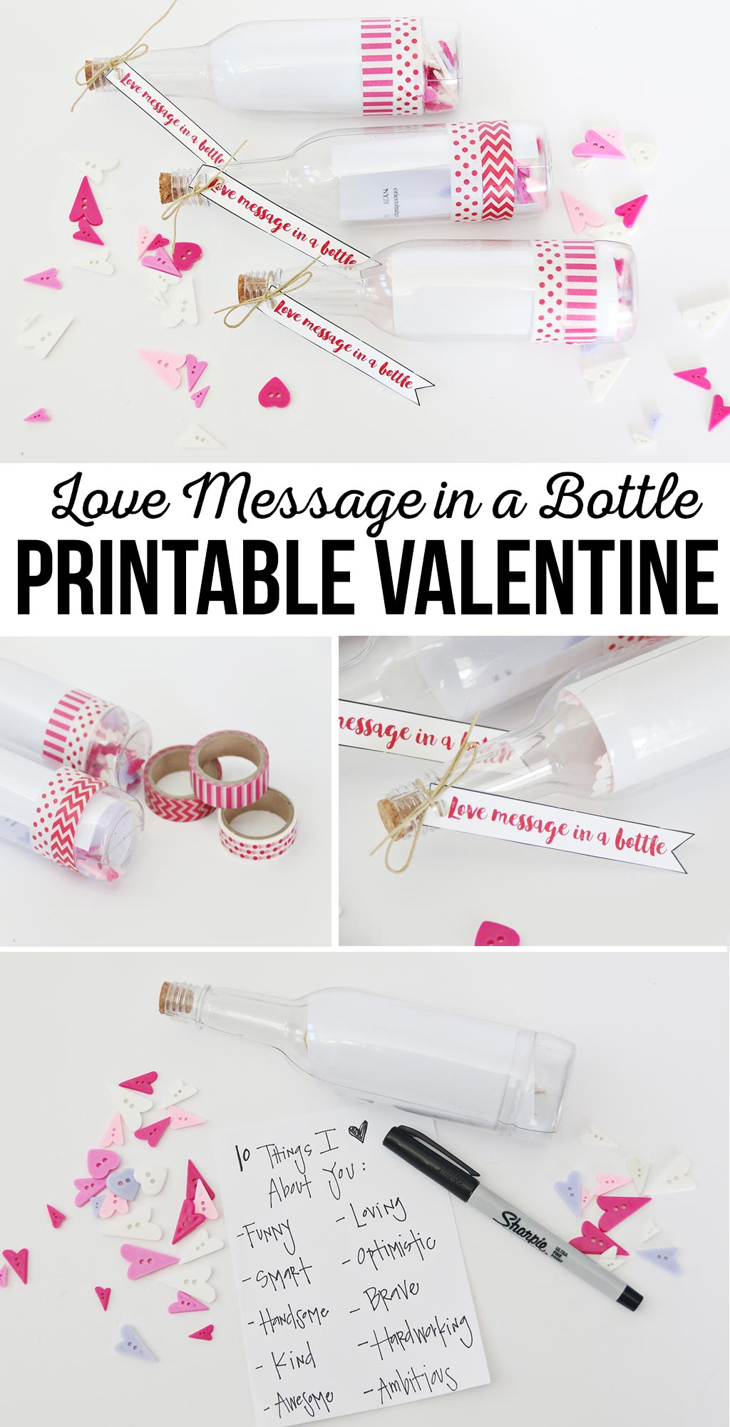 Love Message in a Bottle Printable Valentine