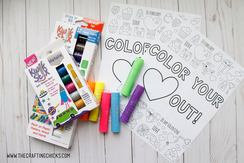 We love to color at our house and this Color Your Heart Out Valentine Coloring Page is perfect for artists of all ages. Pair this with some Kwik Stix to give as a gift to your favorite Valentines.