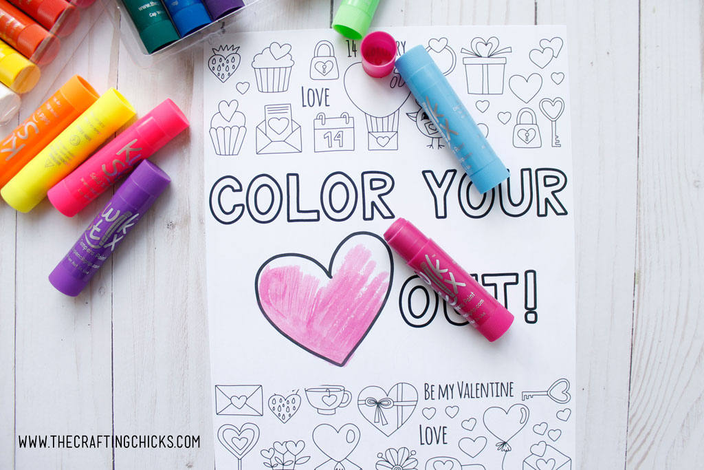 We love to color at our house and thisColor Your Heart Out Valentine Coloring Page is perfect for artists of all ages. Pair this with some Kwik Stix to give as a gift to your favorite Valentines.
