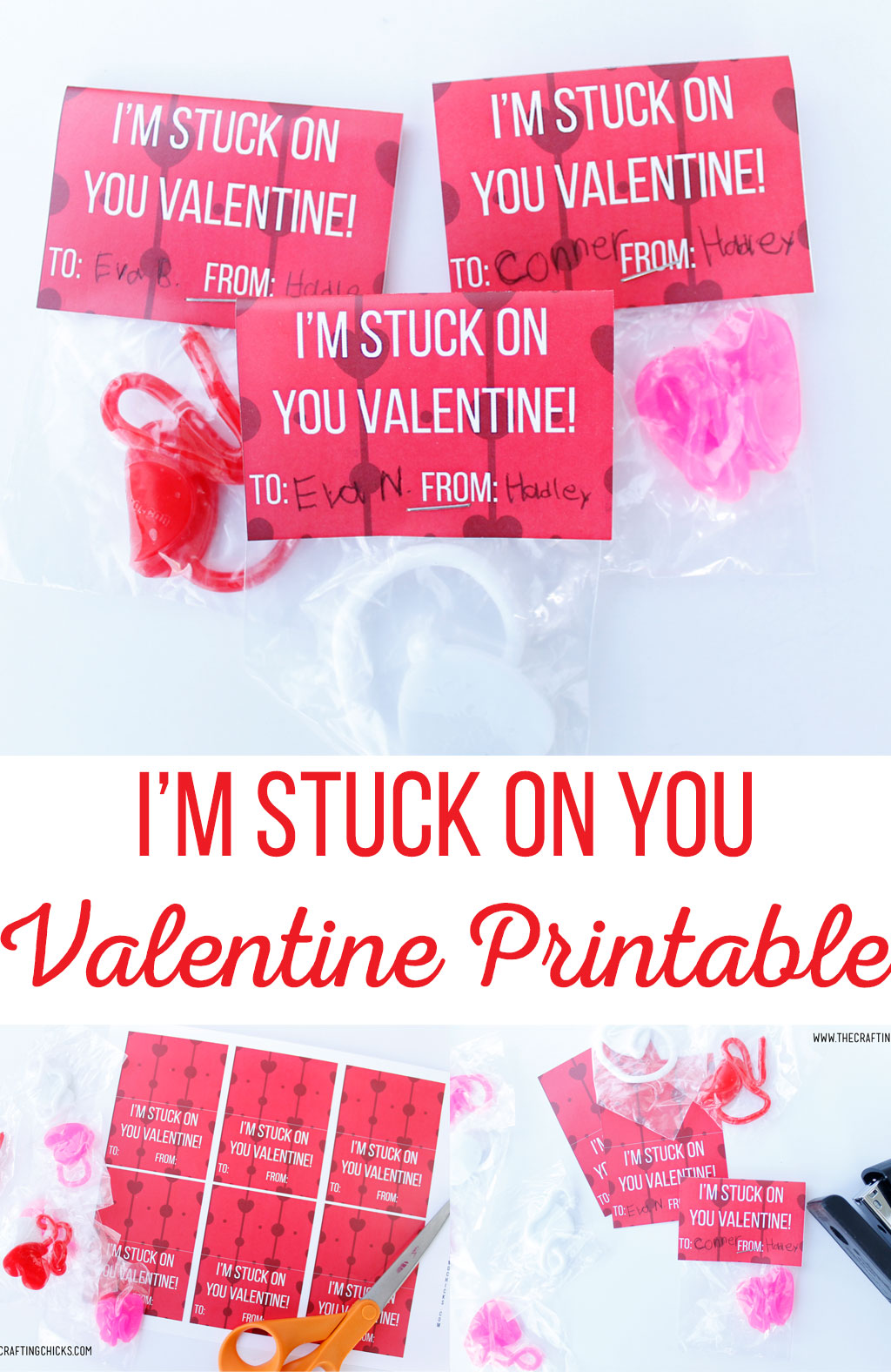 "Who doesn't love a fun non-candy Valentine for kids? This adorable ""I'm Stuck On You Printable Valentine"" is sure to be the hit of the class valentines."