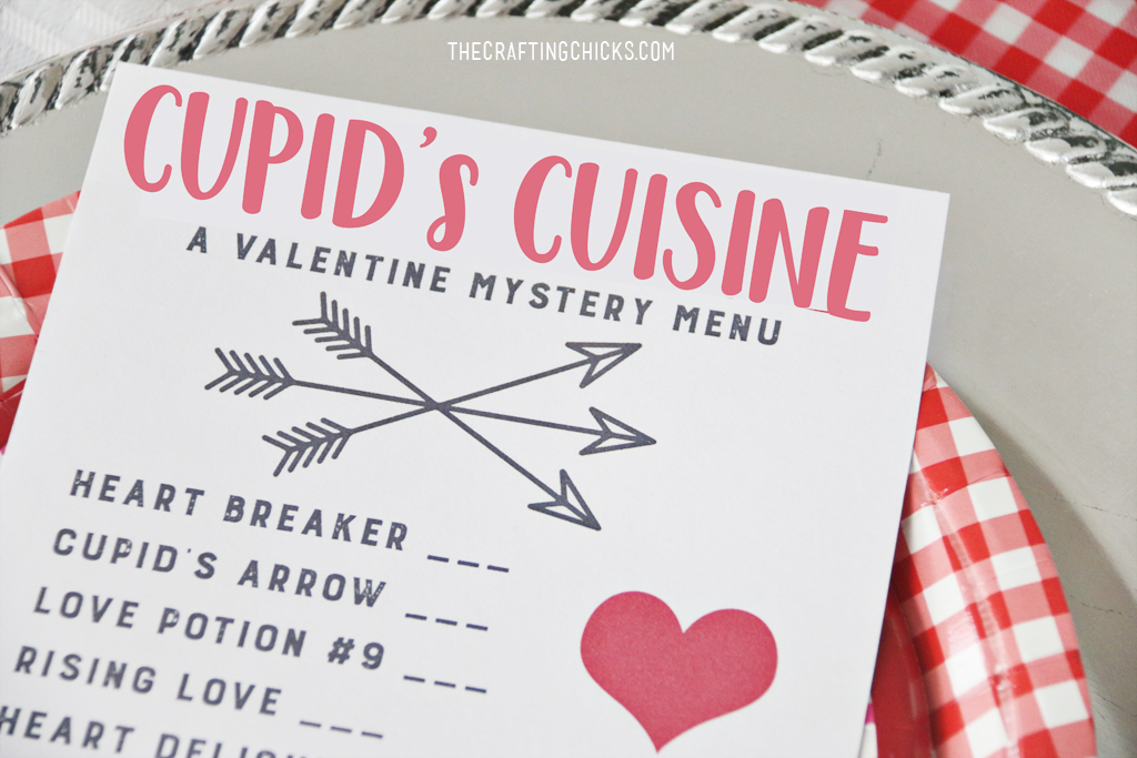 Cupid's Cuisine Valentine's Day Menu for a fun family Valentine's Day Dinner. Kids will love this fun Cupid Mystery Dinner Menu!
