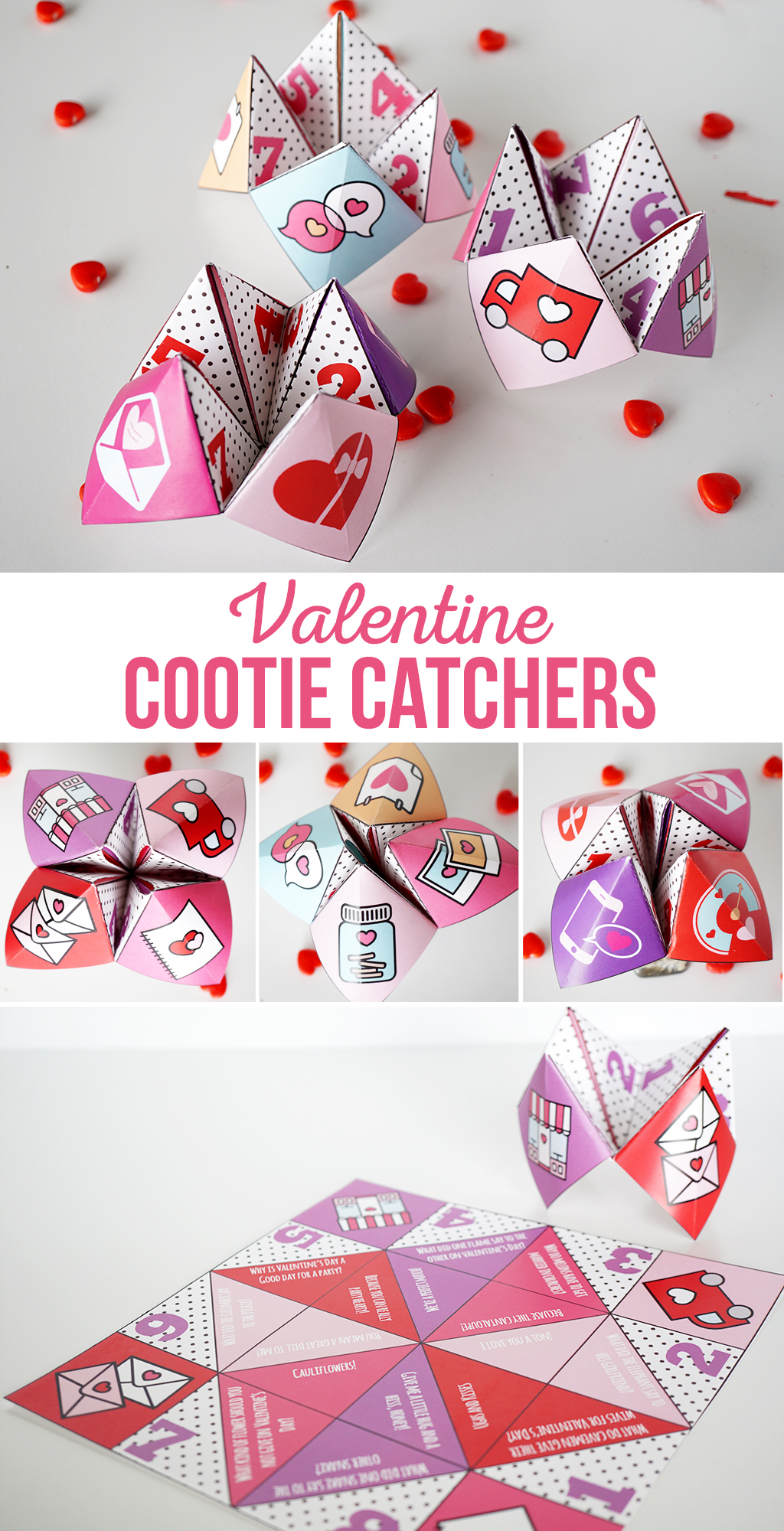 Valentine Fortune Tellers | These Valentine Cootie Catchers are ready to print and fold and would be a fun class activity as party as a party.