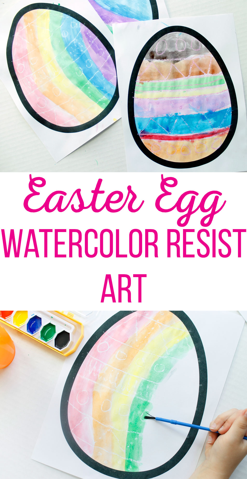 Easter Egg Watercolor Resist Art is a great craft for kids. They will love making designs appear when they use watercolor paints over the crayon.