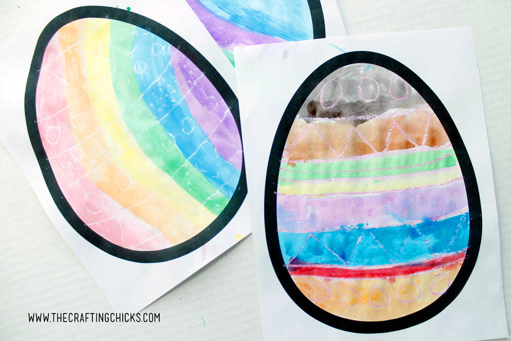 Easter Egg Watercolor Resist Art for kids