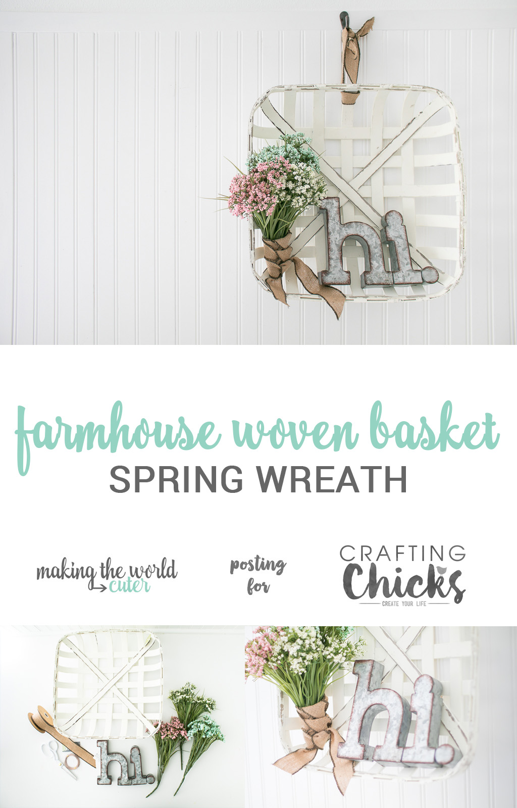 Farmhouse Woven Basket Spring Wreath