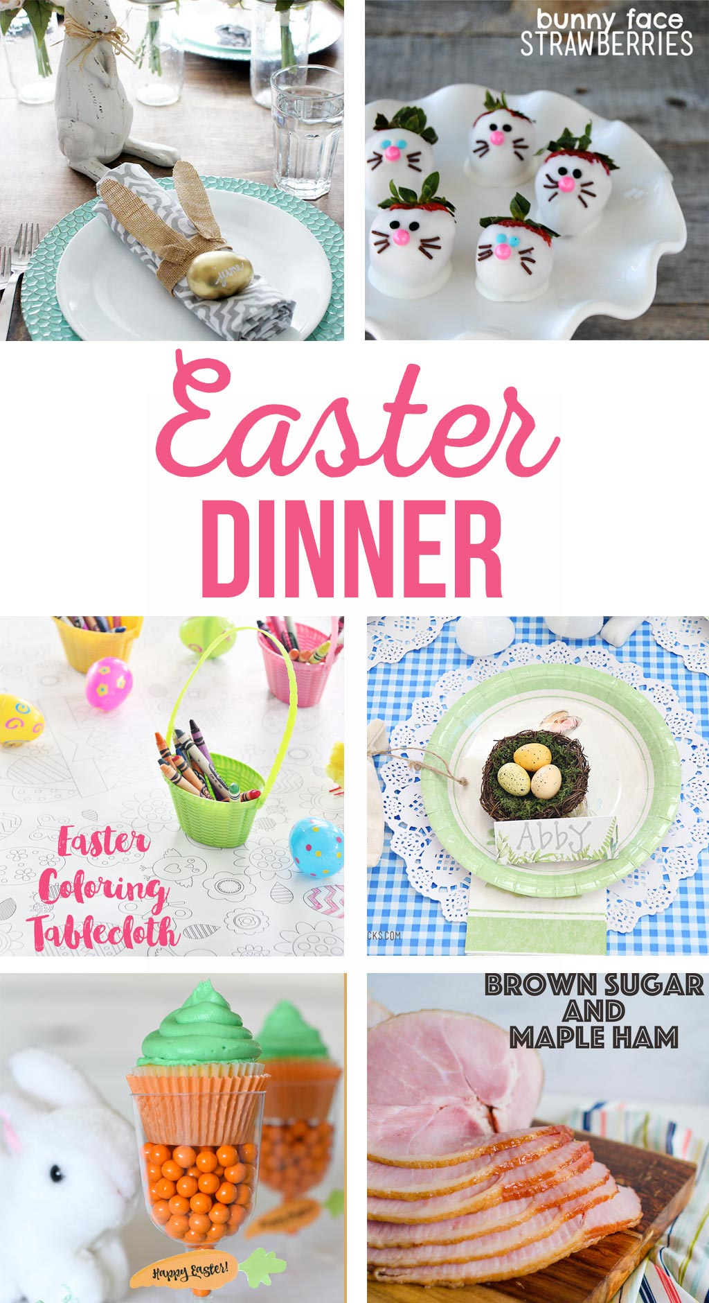 Hosting Easter Dinner | Everything you need to host Easter dinner at your house.  Easter dinner menu, Easter table settings, Easter centerpiece, Easter kids crafts, and yummy Easter desserts!