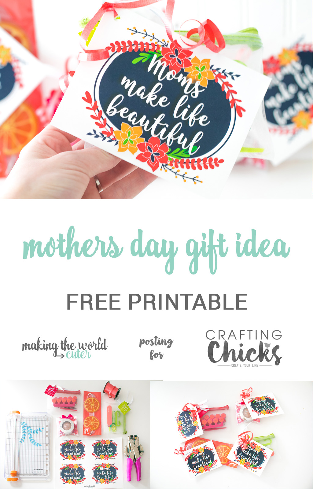 "Mother's Day Gift Idea for Friends. Free printable gift tag with a sweet quote ""Moms make Life Beautiful"". Use it all year round for all the moms in your life!"