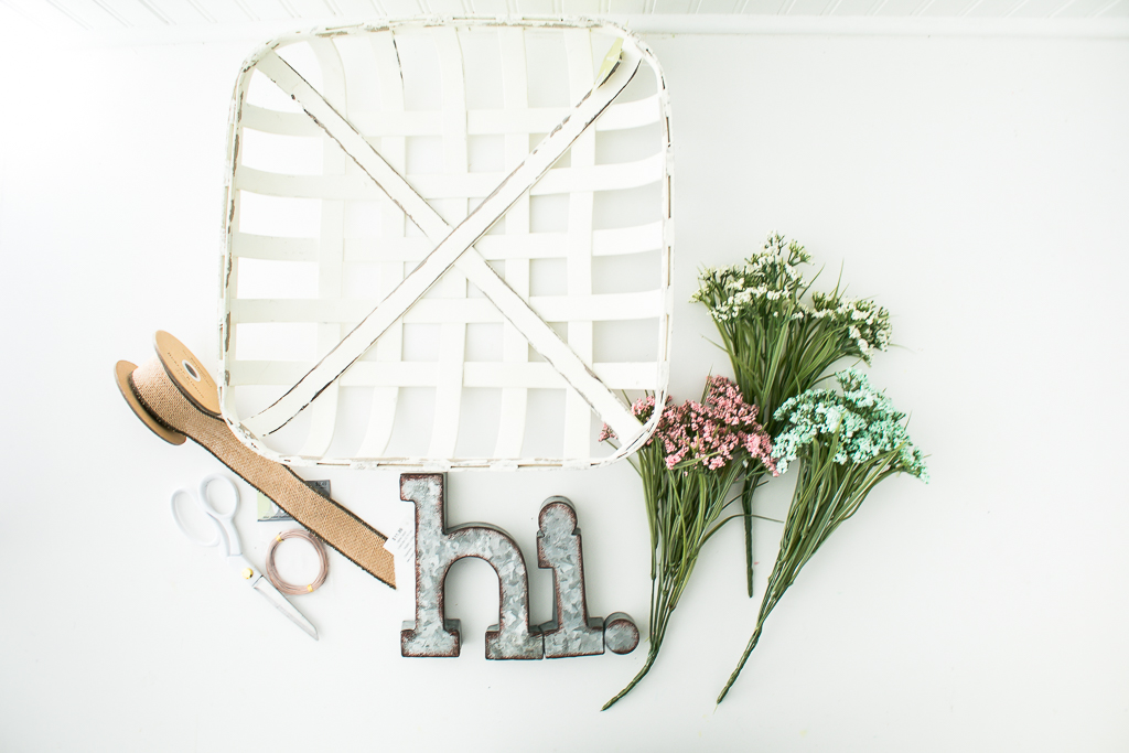 Supplies for farmhouse woven basket spring wreath