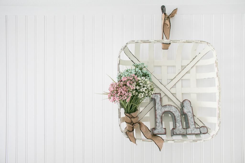 Farmhouse Style Woven Basket Spring Wreath